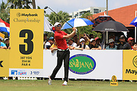 Haotong Li (CHN) in action on the 3rd tee during Round 1 of the Maybank Championship at the Saujana Golf and Country Club in Kuala Lumpur on Thursday 1st February 2018.<br /> Picture:  Thos Caffrey / www.golffile.ie<br /> <br /> All photo usage must carry mandatory copyright credit (&copy; Golffile | Thos Caffrey)