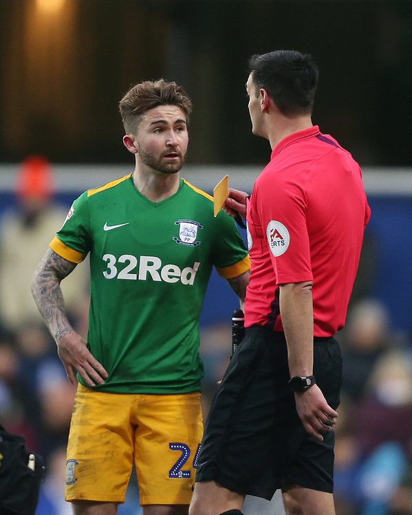 Preston North End's Sean Maguire is shown a yellow card<br /> <br /> Photographer Rob Newell/CameraSport<br /> <br /> The EFL Sky Bet Championship - Queens Park Rangers v Preston North End - Saturday 19 January 2019 - Loftus Road - London<br /> <br /> World Copyright &copy; 2019 CameraSport. All rights reserved. 43 Linden Ave. Countesthorpe. Leicester. England. LE8 5PG - Tel: +44 (0) 116 277 4147 - admin@camerasport.com - www.camerasport.com