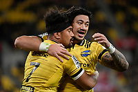 Hurricanes&rsquo; Ardie Savea and Ben Lim in action during the Super Rugby - Hurricanes v Lions at Westpac Stadium, Wellington, New Zealand on Saturday 5 May 2018.<br /> Photo by Masanori Udagawa. <br /> www.photowellington.photoshelter.com