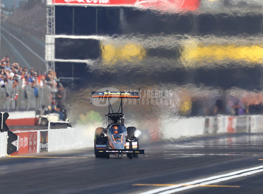 Nov 11, 2018; Pomona, CA, USA; NHRA top fuel driver Mike Salinas during the Auto Club Finals at Auto Club Raceway. Mandatory Credit: Mark J. Rebilas-USA TODAY Sports