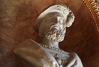 Bust of King Francois I in marble, 1835, by Achille Joseph Etienne Valois, 1785-1862, in the Galerie Francois I, begun 1528, the first great gallery in France and the origination of the Renaissance style in France, Chateau de Fontainebleau, France. The Palace of Fontainebleau is one of the largest French royal palaces and was begun in the early 16th century for Francois I. It was listed as a UNESCO World Heritage Site in 1981. Picture by Manuel Cohen