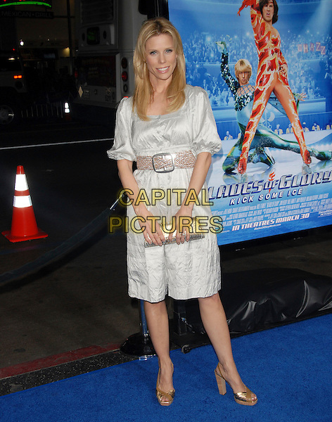 "CHERYL HINES .Attends The Paramount Pictures L.A. Premiere of ""Blades of Glory"" held at The Graumann's Chinese Theatre in Hollywood, California, USA. .March 28th, 2007.full length grey gray silver dress gold shoes clutch purse bag dress belt .CAP/DVS.©Debbie VanStory/Capital Pictures"