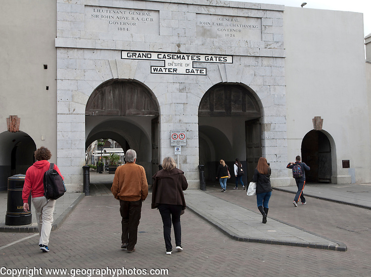 People walking at Grand Casemates gates entrance,  Gibraltar, British terroritory in southern Europe