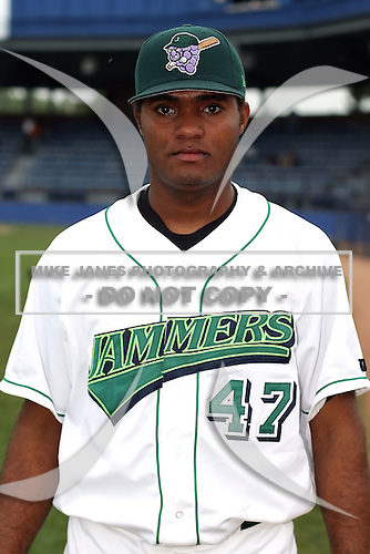 September 6 2008:  Pitcher Geury Ramirez of the Jamestown Jammers, Class-A affiliate of the Florida Marlins, during a game at Russell Diethrick Park in Jamestown, NY.  Photo by:  Mike Janes/Four Seam Images