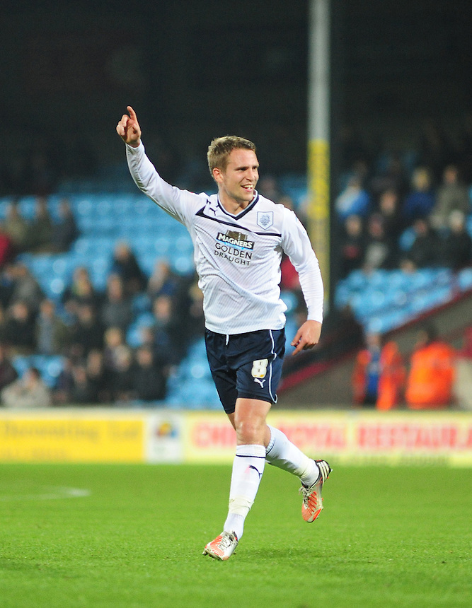 Preston North End's Nicky Wroe celebrates scoring his sides third goal completing his first half hat-trick..Football - npower Football League Division One - Scunthorpe United v Preston North End - Tuesday 23rd October 2012 - Glanford Park - Scunthorpe..