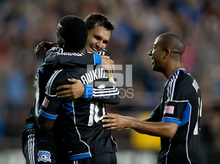 Santa Clara, California - Saturday July 14, 2012: San Jose Earthquakes' Chris Wondolowski celebrates with his teammate Simon Dawkins after a goal during a game against Real Salt Lake at Buck Shaw Stadium, Stanford, Ca     San Jose Earthquakes defeated Real Salt Lake 5 - 0.