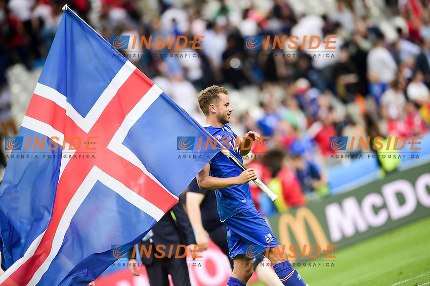 Kari Arnason (Isl)  celebrates at the end of the match <br /> Paris 22-06-2016 Saint Denis Footballl Euro2016 Iceland - Austria / Islanda - Austria Group Stage Group F. Foto JB Autissier / Panoramic / Insidefoto