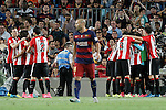 Athletic de Bilbao's players celebrate goal in presence of FC Barcelona's Javier Mascherano dejected during Supercup of Spain 2nd match.August 17,2015. (ALTERPHOTOS/Acero)