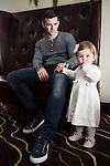 © Joel Goodman - 07973 332324 . 24 April 2013 . Worsley Marriot Hotel and Country Club, Manchester , UK . Current Fleetwood Town and former Bury FC captain , STEVEN SCHUMACHER , with nineteen month old daughter , CLAUDIA , portrait session . Photo credit : Joel Goodman