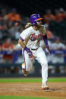Reed Rohlman (26) of the Clemson Tigers hustles down the first base line against the Duke Blue Devils in Game Three of the 2017 ACC Baseball Championship at Louisville Slugger Field on May 23, 2017 in Louisville, Kentucky. The Blue Devils defeated the Tigers 6-3. (Brian Westerholt/Four Seam Images)