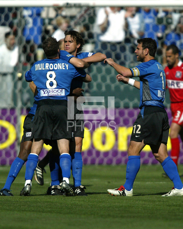 "Ronnie Ekelund celebrates scoring the first goal of MLS Cup 2003 with his ""Danish Gansta"" pose.  The San Jose Earthquakes defeated the Chicago Fire 4-2 in the MLS Championship at The Home Depot Center on November 23, 2003."