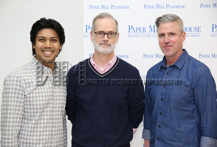 """J. Coner Navarro, Jack Cummings III and Scott Rink during the meet the cast photo call for the Paper Mill Playhouse production of  """"Benny & Joon"""" at Baza Dance Studios on 3/21/2019 in New York City."""