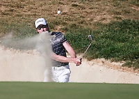 Brett Rumford (AUS) chips out of s bunker at the 17th green during Sunday's Final Round of the Bankia Madrid Masters at El Encin Golf Hotel, Madrid, Spain, 9th October 2011 (Photo Eoin Clarke/www.golffile.ie)