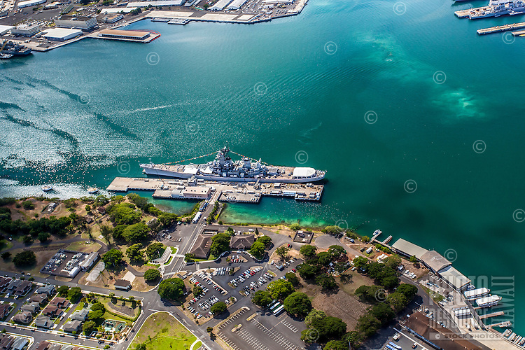 An aerial view of the Battleship Missouri Memorial at Ford Island, O'ahu.