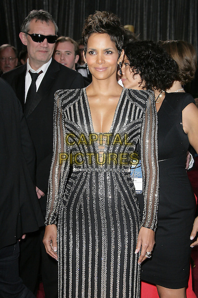 Halle Berry.85th Annual Academy Awards held at the Dolby Theatre at Hollywood & Highland Center, Hollywood, California, USA..February 24th, 2013.oscars half length black gold silver striped stripes dress sequins sequined cleavage .CAP/ADM.©AdMedia/Capital Pictures.