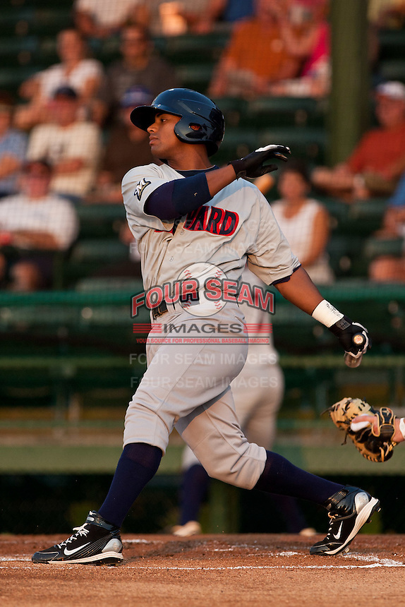 Khris Davis of the Brevard County Manatees during the game against the Daytona Beach Cubs at Jackie Robinson Ballpark on May 9, 2011 in Daytona Beach, Florida. Photo by Scott Jontes / Four Seam Images