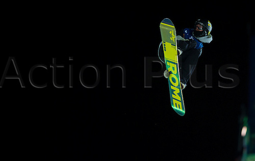 27.02.2016. Toyen, Big Jump Oslo, Norway.  Red Bull X Games Oslo 2016. Men's Snowboard Big Air Final. Niklas Mattsson of Sweden in action during the men's Snowboard Big Air Final at the Red Bull X Games Oslo 2016 in Toyen Big Jump  Oslo, Norway.