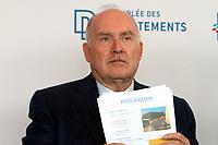 DOMINIQUE BUSSEREAU - CONFERENCE DE PRESSE DE PRESENTATION DU 87EME CONGRES DES DEPARTEMENTS DE FRANCE A MARSEILLE, FRANCE, LE 15/09/2017.