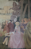 Detail of Marie Antoinette from a fresco entitled La Periode Classique, 1 of a series of 4 paintings depicting the 4 ages of French art, showing the French royal court in the gardens of the Palais de Versailles, with Marie Antoinette and the Dauphin, Mabel Gage, Voltaire and Antoine Watteau painting his painting L'Indifferent of 1716, painted in Art Deco style in 1929-30 by Robert La Montagne Saint-Hubert, 1887-1950, and 2 assistants, Ethel Wallace and James Newell, 1900-1985, 1 of 6 frescoes which were discovered during works in 1994 and restored in 2011, in the Grand Salon or Great Hall of the Fondation des Etats Unis or American Foundation, designed by Pierre Leprince-Ringuet, 1874-1954, and inaugurated in 1930, in the Cite Internationale Universitaire de Paris, in the 14th arrondissement of Paris, France. The Grand Salon is listed as a historic monument. The CIUP or Cite U was founded in 1925 after the First World War by Andre Honnorat and Emile Deutsch de la Meurthe to create a place of cooperation and peace amongst students and researchers from around the world. It consists of 5,800 rooms in 40 residences, accepting another 12,000 student residents each year. Picture by Manuel Cohen. Further clearances may be requested.