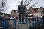 The statue of former manager Sir Alf Ramsey watches over the stadium after Ipswich Town played Oxford United in a SkyBet League One fixture at Portman Road. Both teams were in contention for promotion as the season entered its final months. The visitors won the match 1-0 through a 44th-minute Matty Taylor goal, watched by a crowd of 19,363.