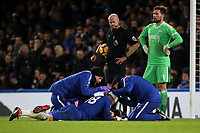 Olivier Giroud of Chelsea receives treatment after suffering a head injury during Chelsea vs West Bromwich Albion, Premier League Football at Stamford Bridge on 12th February 2018