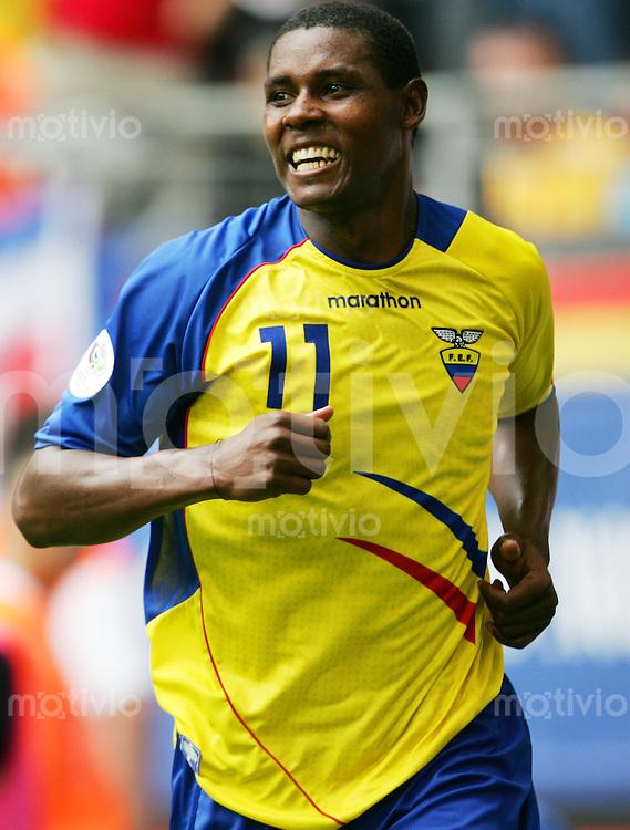 Fussball WM 2006        Ekuador - Costa Rica Augustin DELGADO (ECU) jubelt ueber seinen Treffer zum 2:0.