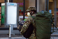 NEW YORK, NY - MARCH 24: A soldier wears a face mask due to the increase in Coronavirus on March 24, 2020 in New York City. New York City, with more than 25,000 confirmed cases of (COVID-19), makes it the epicenter of the outbreak in the United States. (Photo by Pablo Monsalve / VIEWpress via Getty Images)