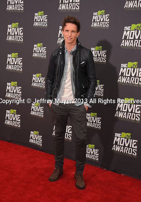 CULVER CITY, CA- APRIL 14: Eddie Redmayne arrives at the 2013 MTV Movie Awards at Sony Pictures Studios on April 14, 2013 in Culver City, California.