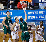 SIOUX FALLS, SD: MARCH 20:  Russell Sangster #1 of Le Moyne shoots over West Texas A&M defender during their game at the 2018 Division II Men's Elite 8 Basketball Championship at the Sanford Pentagon in Sioux Falls, S.D. (Photo by Dick Carlson/Inertia)