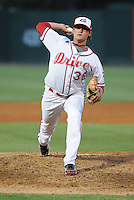 Relief pitcher Justin Erasums (36) of the Greenville Drive, Class A affiliate of the Boston Red Sox, in a game against the Hickory Crawdads on July 1, 2011, at Fluor Field at the West End in Greenville, South Carolina. (Tom Priddy/Four Seam Images)