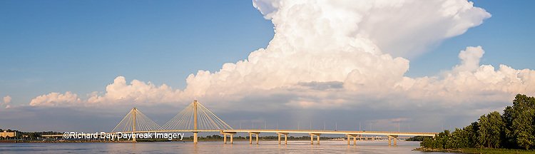 63895-14517 Clark Bridge over Mississippi River and thunderstorm (Cumulonimbus Cloud) Alton, IL