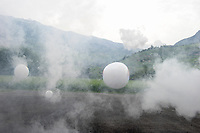 Switzerland, Wallis, artificial air bubble from bubble machine