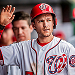 1 August 2018: Washington Nationals shortstop Trea Turner returns to the dugout after scoring in first inning against the New York Mets at Nationals Park in Washington, DC. The Nationals defeated the Mets 5-3 to sweep the 2-game weekday series. Mandatory Credit: Ed Wolfstein Photo *** RAW (NEF) Image File Available ***