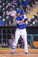 Oklahoma City Dodgers third baseman Buck Britton (4)  at bat during a game against the Nashville Sounds at Chickasaw Bricktown Ballpark on April 15, 2015 in Oklahoma City, Oklahoma. Oklahoma City won 6-5. (William Purnell/Four Seam Images)