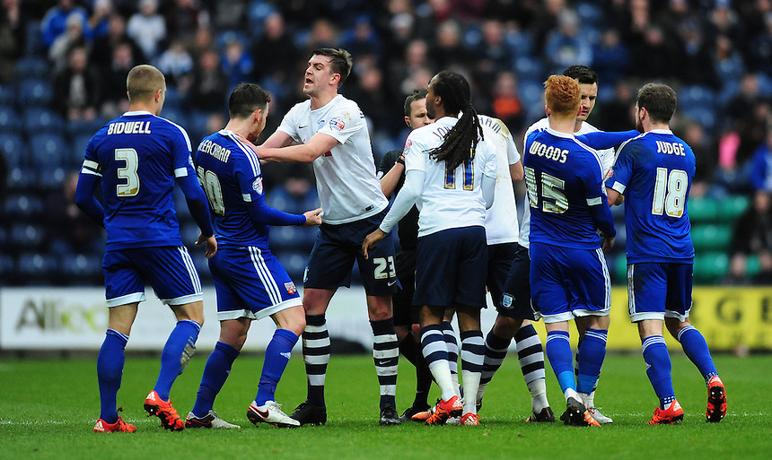 Tempers on both sides boil over <br /> <br /> Photographer Chris Vaughan/CameraSport<br /> <br /> Football - The Football League Sky Bet Championship - Preston North End v Brentford - Saturday 23rd January 2016 -  Deepdale - Preston<br /> <br /> &copy; CameraSport - 43 Linden Ave. Countesthorpe. Leicester. England. LE8 5PG - Tel: +44 (0) 116 277 4147 - admin@camerasport.com - www.camerasport.com