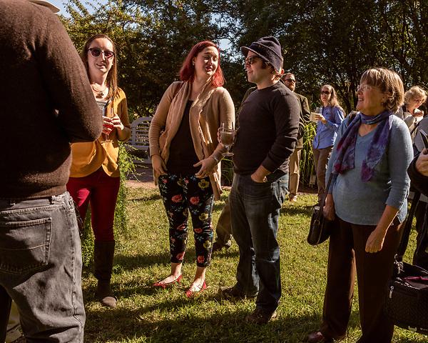October 26, 2017. Raleigh, North Carolina.<br /> <br /> Garden landscape designer Ben Skelton, center, speaks to dedication attendees. <br /> <br /> A new garden designed by Ben Skelton containing native Plants For Birds was dedicated at the North Carolina Executive Mansion.