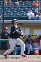 Jerad Casper #15 of the Oregon State Beavers bats against the Southern California Trojans at Dedeaux Field on May 23, 2014 in Los Angeles, California. Southern California defeated Oregon State, 4-2. (Larry Goren/Four Seam Images)