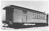 #210 baggage &amp; coach combine - 36 feet long - at Alamosa around 1939.<br /> D&amp;RGW  Alamosa, CO  Taken by Maxwell, John W. - ca 1939