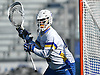 Jack Concannon #12, Hofstra University goalie, defends the net during an NCAA Division I men's lacrosse game against Monmouth at Shuart Stadium in Hempstead, NY on Saturday, Feb. 18, 2017. Hofstra won 11-9.