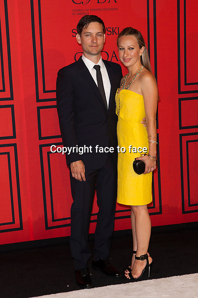 NEW YORK, NY - JUNE 3: Tobey Maguire, Jennifer Meyer at the 2013 CFDA Fashion Awards at Lincoln Center's Alice Tully Hall in New York City. June 3, 2013. <br />