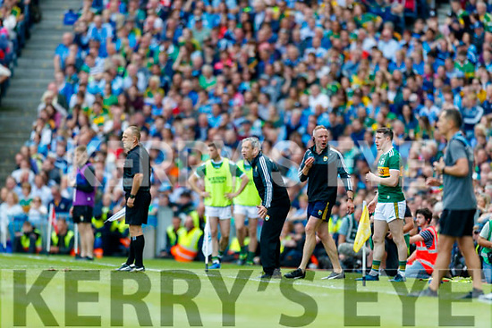Kerry Manager Peter Keane in the dying moments the GAA Football All-Ireland Senior Championship Final match between Kerry and Dublin at Croke Park in Dublin on Sunday.
