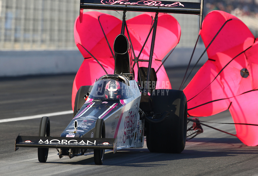 Feb 13, 2016; Pomona, CA, USA; NHRA top alcohol dragster driver Ashley Sanford during qualifying for the Winternationals at Auto Club Raceway at Pomona. Mandatory Credit: Mark J. Rebilas-USA TODAY Sports