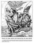 Peace at the Prow and Treasure at the Helm. A symbolic attempt to harmonise the apparently conflicting principles of the Kellog Pact and the big Navy Bill. With Mr Punch's compliments to the American Senate on passing both of them. (an InterWar cartoon showing Uncle Sam  in an undersized ship laden with US Dollar money bags and decked with cannons)