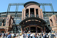 09 April 2010:  A general view of the first base entrance to Coors field on Blake Street before a Major League Baseball game between the Colorado Rockies and the San Diego Padres at Coors Field in Denver,  Colorado. The Rockies beat the Padres 7-0 in the Coors Field home opener.  *****For Editorial Use Only*****