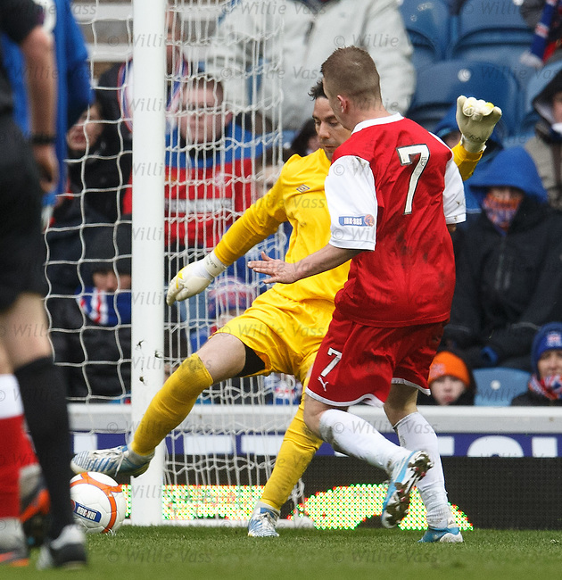Neil Alexander tries to dribble the ball past Josh Flood