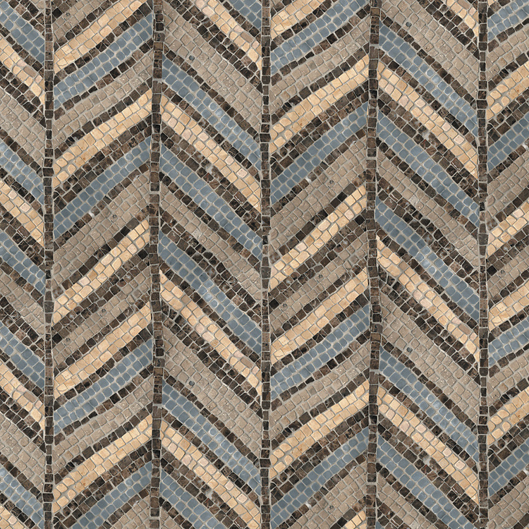Frond Pheasant, a hand-chopped stone mosaic, shown in tumbled Renaissance Bronze, Emperador Dark, Bardiglio, and Jerusalem Gold, is part of the Metamorphosis Collection by Sara Baldwin for New Ravenna Mosaics.