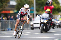GEELONG, 30 SEPTEMBER - Fabian Cancellara of Switzerland turning onto the finish straight at the 2010 UCI Road World Championships time trial event in Geelong, Victoria, Australia. Cancellara won the event and became the first person to win a record four time trial titles. (Photo Sydney Low / syd-low.com)