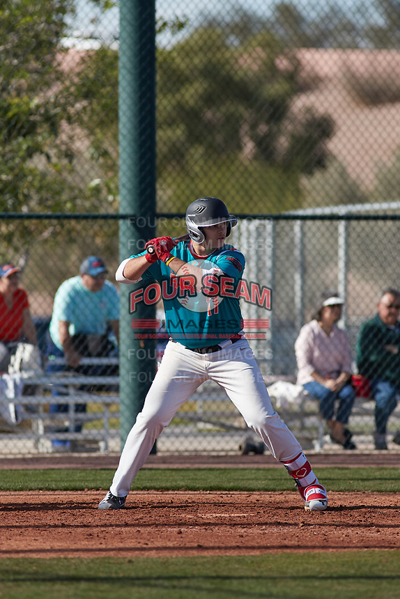 Victor Mederos(17) of Monsignor Edward Pace High School in Miami, Florida during the Baseball Factory All-America Pre-Season Tournament, powered by Under Armour, on January 14, 2018 at Sloan Park Complex in Mesa, Arizona.  (Freek Bouw/Four Seam Images)
