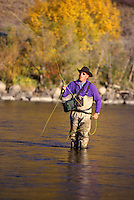 Flyfisherman on Yakima River, WA.  Model Released.