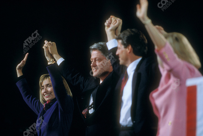 (From left) Hillary Clinton, Bill Clinton, Al Gore, and Tipper Gore on Election Night, celebrating their presidential victory. Little Rock, Arkansas, November 1992.